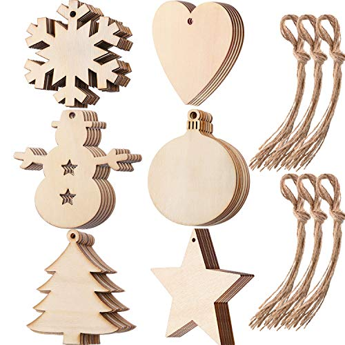 Tatuo 60 Pieces Wooden Cutouts Christmas Wood Ornaments, Star, Christmas Tree, Snowflake, Snowman Christmas Wooden Hanging Ornaments with 60 Pieces Ropes for Embellishments, Wedding, DIY -