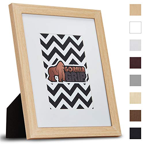 Gorilla Grip Original Picture Frame, 8x10 with Removable Mat, Faux Wood Photo Frames, Pre-Installed Wall Mounting Hardware or Tabletop Display, Pictures Hang Horizontal or Vertical, Natural