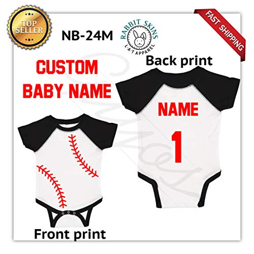 Guyos Custom Text Here Short Sleeve Baby Bodysuit Baseball Fans Sport Jersey Baby Jumpsuit Personalized with Name and Number (Black&White, 24M)