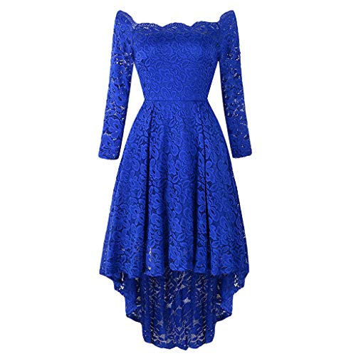 Toimothcn Women Lace Party Dress Long Sleeve Off Shoulder Wedding Evening Party Dress(Blue,XL)]()