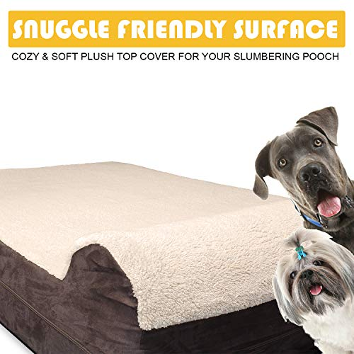 KOPEKS 7'' Thick High Grade Orthopedic Memory Foam Dog Bed with Pillow & Easy to Wash Removable Cover with Anti-Slip Bottom. Free Waterproof Liner Included - Plush Top - Jumbo XL for Large Dogs by KOPEKS (Image #4)