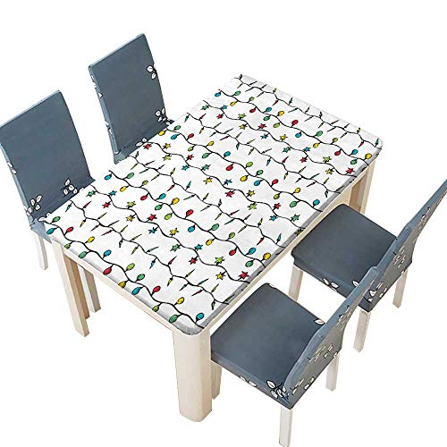 PINAFORE Polyester Table Cloth Lights on String Star Shape Fairy Lights Festive Season Table W53 x L92.5 INCH (Elastic Edge) (Seahawk String Lights)