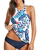 Holipick Women Two Piece Plus Size Sexy Backless High Neck Halter Floral Printed Top with Hipster Bottoms Tankini Set Blue L