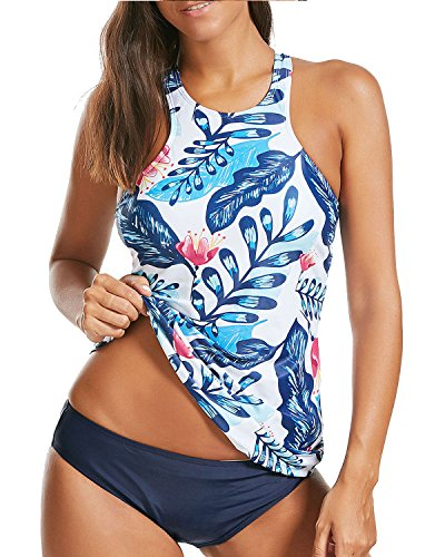 HOLIPICK Women Two Piece Plus Size Sexy Backless High Neck Halter Floral...