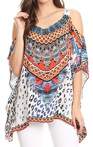 Sakkas 17259 - Saanvi Printed Draped Short Sleeve Strap Cutout Shoulder V-Neck Kaftan Top - TRM109-Multi - L/XL