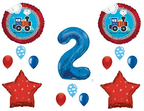 NEW! Two Two Train 2nd Birthday Party Balloons Decoration Supplies Second -