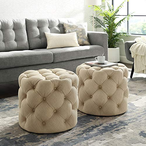 - Inspired Home Beige Linen Ottoman - Design: Lauren | Allover Tufted | Round | Modern Contemporary | 1 PC