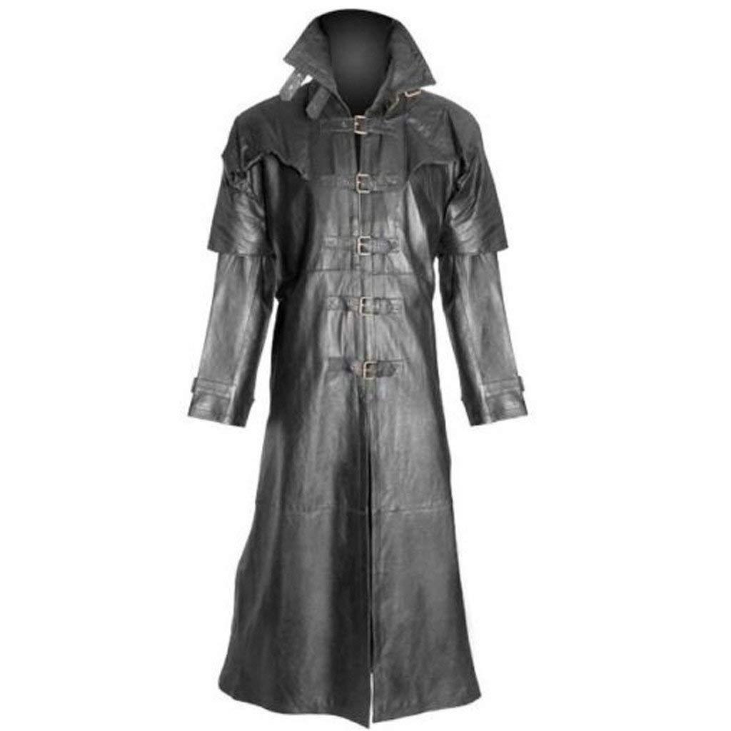 jin&Co Faux Leather Jacket Men Oversized Long Sleeve Lapel Medieval Gothic Retro Long Jacket Trench Coat Overcoat Black by jin&Co Men's Jacket