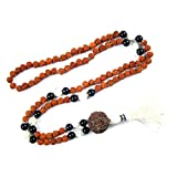 Yoga Jewelry Mala Beads Black Onyx Rudraksha Moon Stone Prayer Meditation Necklace