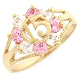 10k Yellow Gold Pink and White CZ Birthstone 15 Anos Quinceanera Ring