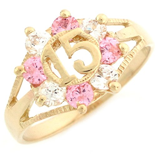 10k Yellow Gold Pink and White CZ Birthstone 15 Anos Quinceanera Ring by Jewelry Liquidation