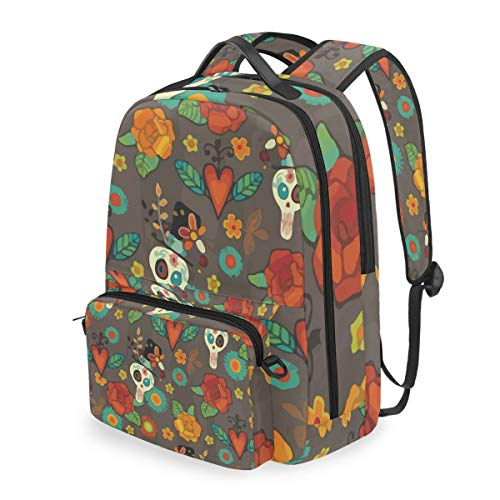 Dia De Los Muertos Halloween 15 Inch Travel Laptop Backpack College School Computer Bags Cross Bag -