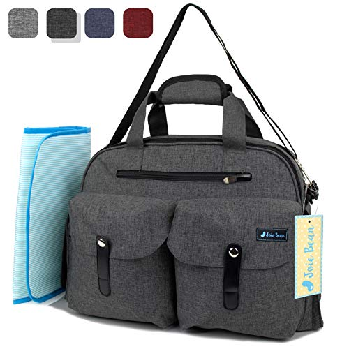 JOIE BEAN Baby Diaper Tote Bag with Changing Mat and Insulated Pockets, Large Capacity Travel Baby Bag with Stroller Straps, Multi-Function Maternity Nappy Bag (Dark Grey)