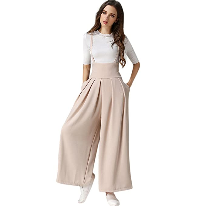 9863ad24ec Image Unavailable. Image not available for. Color: TIMEMEANS Womens  Jumpsuit Pleated High Waisted Wide Leg Suspenders Pants Beige