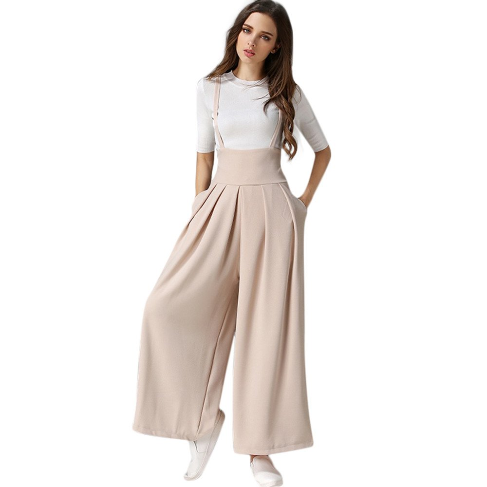Littleice Womens Long Suspenders Trousers Jumpsuits Loose High Waisted Pleated Wide Leg Palazzo Pants (Beige, S)