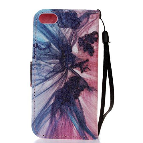 Ikasus Funda con solapa para Apple iPhone SE 2016, 5S y 5, con dibujo pintado, piel sintética de poliuretano, de alta calidad, con función atril y tarjetero Blue Purple Sketch