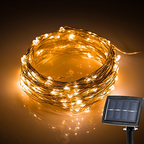 400 Casual Outdoor Furniture - Hallomall LED Solar Powered String Lights, 2 Modes Steady on / Flash, 150 LED, 72 Feet, Warm White