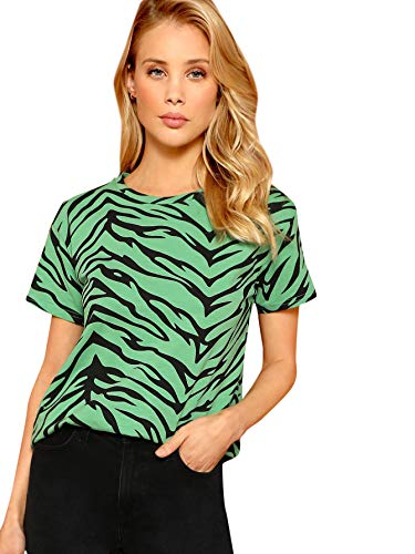 (WDIRARA Women's Casual Zebra Print Top Round Neck Stretch Fashion Slim Tee Green)