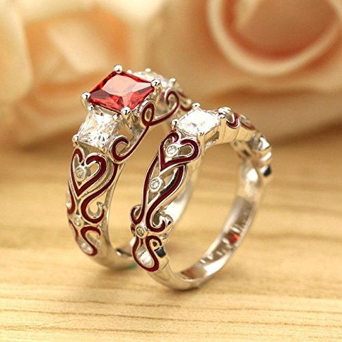 Owill Exquisite 2-in-1 Women Ladies Red Diamond Silver Engagement Wedding Band Heart Rings Bride Ring (7, Multicolour)