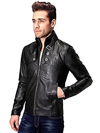 OCHENTA Men's Winter Slim Fit Stand Up Collar Faux Leather