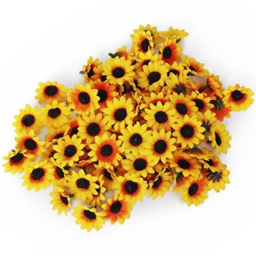 Fake Daisy Flower Petals, GreenDimension 100pcs Artificial Silk Yellow Sunflower Mini Heads Fabric Floral Supplies Wholesale Lot For Wedding Flowers Accessories Make Bridal Hair Clips Headbands (Stunning Silk Dress)