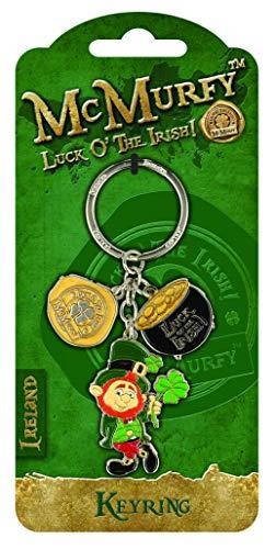 Irish Leprechaun Designed Charm Keyring Crock Of Gold ()