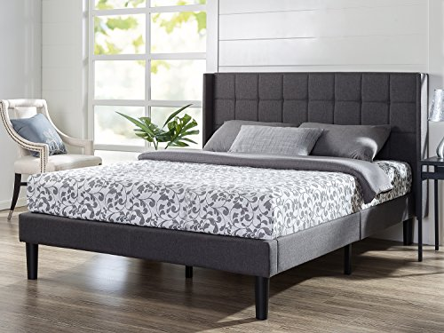 Zinus Upholstered Square Stitched Wingback Platform Bed, Queen - Queen Wing
