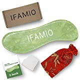 IFAMIO Handmade Jade Gua Sha Massage Tool, High Quality Natural GuaSha Stone Facial and Body Scraping Board for SPA Acupuncture Trigger Point Treatment, Best Physical Therapy Tool with Bag and Ebook