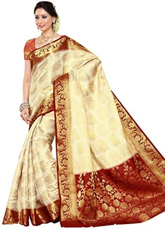 b2f6c53c8 Mimosa Women s Silk Saree (201-Heht-Mrn Off White)  Amazon.in ...