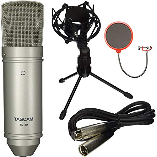Tascam TM-80 Large Diaphragm Condenser Studio Microphone with Tabletop Stand, 6 Foot XLR Mic Cable, Shock Mount and Pop Filter Wind Screen Shield with Mic Stand Clip