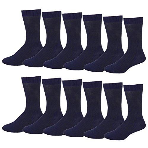 2 Crew Navy Pack Sock (Falari Men Cotton Dress Socks (12-pack Navy))