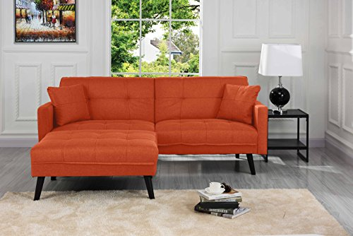 (Sofamania Mid-Century Modern Linen Fabric Futon, Small Space Living Room Couch (Orange) )