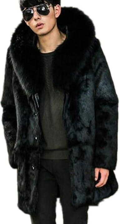 Mens Big Fur Parka Furry Long Coat Winter Warm Jacket Lapel Trench Outwear New