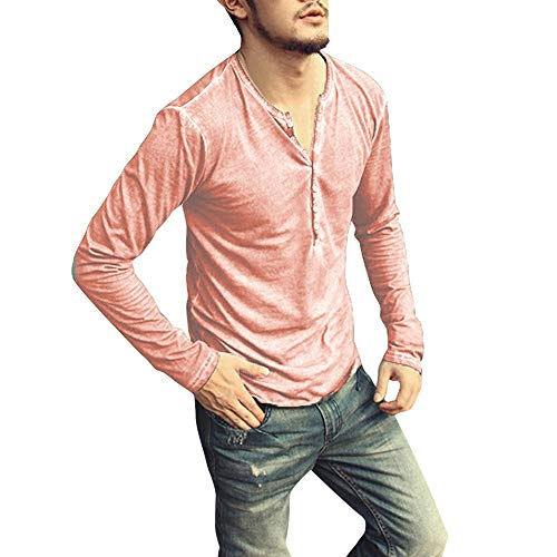 Men Casual Vintage Long Sleeve Button Up V-Neck T-Shirt Henley Tops Red