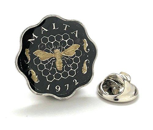 Malta Coin Tie Tack Lapel Pin Suit Flag Vintage Honey Bee Industry Fish Exotic Rare Mediterranean