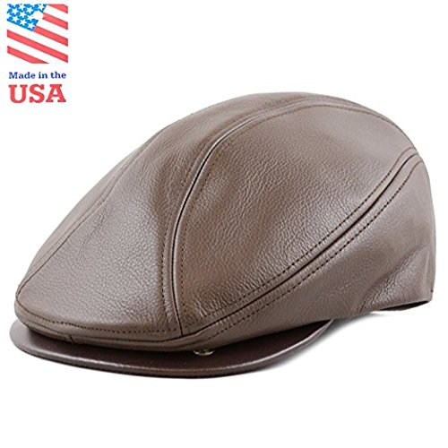 Men Genuine Newsboy Leather Hat Cap Gatsby Flat Golf Cabbie (Large/X-Large, Brown) Black Vinyl Newsboy Hat