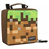 JINX Minecraft Dirt Block Insulated Kids School Lunch Box, Green/Brown, 8.5'x 8.5'x 4'