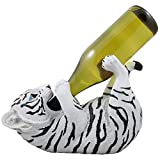 Drinking White Tiger Cub Wine Bottle Holder Sculpture in African Jungle Safari Decor and Decorative Bar or Tabletop Wine Racks & Stands As Whimsical Gifts for Wild Animal Lovers