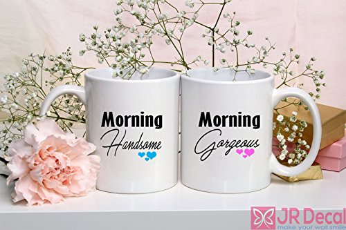 Personalised Ceramic - Morning Handsome and Morning Gorgeous - Coffee Mugs - Valentines Day Gift for her - Tea Cup - Personalised Ceramic Mugs - Couple Mug