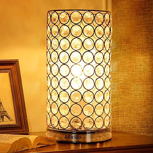 - Crystal Table Lamp - Albrillo Decorative Table Lamp Bedside Lamps, Modern Table Light with Silver Shade, Nightstand Lamps for Bedroom, Living Room, Dining Room, Kitchen