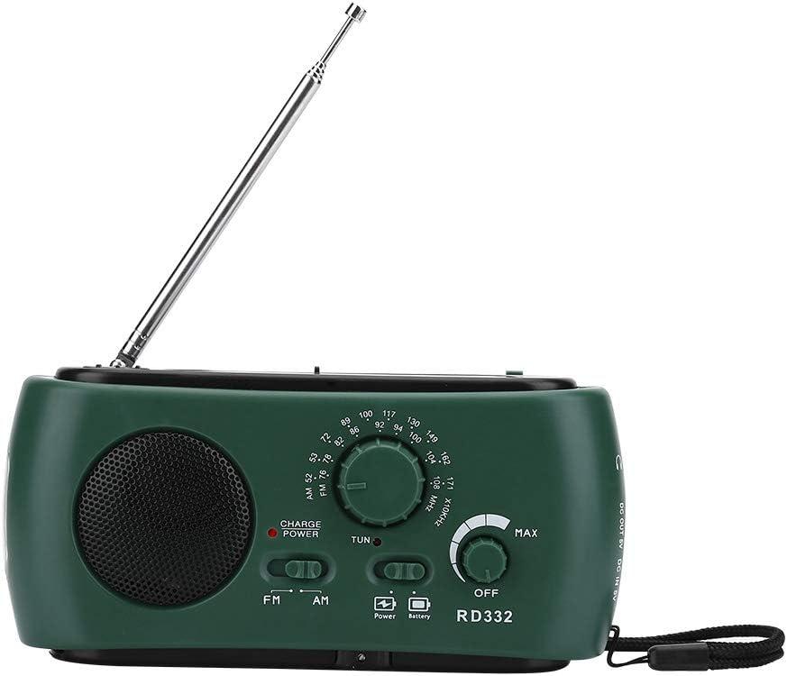 Radio portátil de manivela de energía Solar, con Linterna LED Cargador de teléfono de Emergencia, Altavoz Incorporado Radio FM/Am, Conservación de energía, para Exteriores