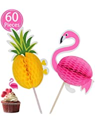 Mignongirl Cake Topper Decoration 3D Pineapple Flamingo Tropical Summer Hawaii Party Decors 60 Pieces for Birthday,Wedding,Baby Shower