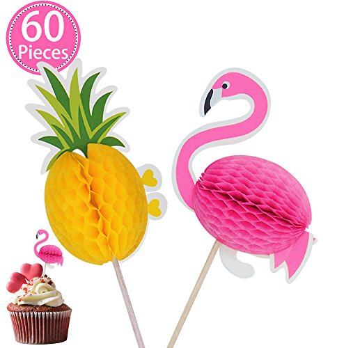 Pineapple and Flamigo Cupcake Party Supplies Cake Toppers-Cocktail Picks Cake Decoration for Luau Hawaii Birthday Wedding Beach Party by Mignongirl