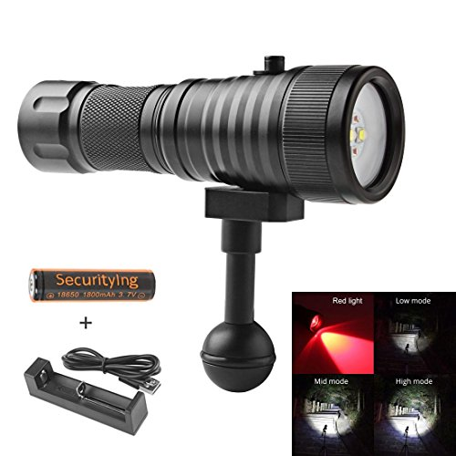 SecurityIng Wide 120 Degrees Beam Angle Scuba Diving Photography Video Flashlight 1500LM with 2 x Cree XM-L2(U4) White Light + 2 x XP-E R5 Red LED (Battery Included)