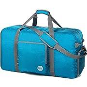 Faltbare Reisetasche 60-100L Superleichte Reisetasche für Gepäck Sport Fitness Wasserdichtes Nylon von WANDF (Blau, 80L)