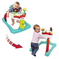 Kolcraft Tiny Steps 2-en-1 Actividad Caminante para bebés y niños pequeños - Posición sentada o caminando, Fácil de plegar, Altura del asiento ajustable, Juguetes divertidos y Actividades para la niña o el niño, Jubliee
