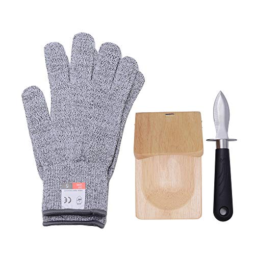 3-Piece Easy Oyster Shucker Opener Set - Oyster Shucking Knife, Oyster Shucking Clamp, and Level 5 Protection Food Grade Cut Resistant Gloves