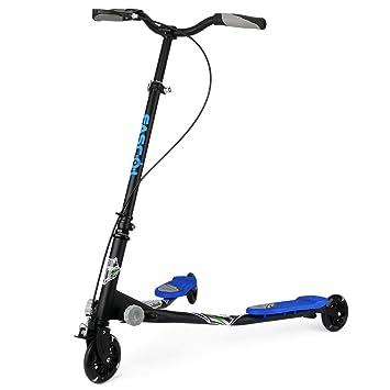 Fascol Patinete plegable con 3 ruedas para Niños de 3-15 Años, Azul