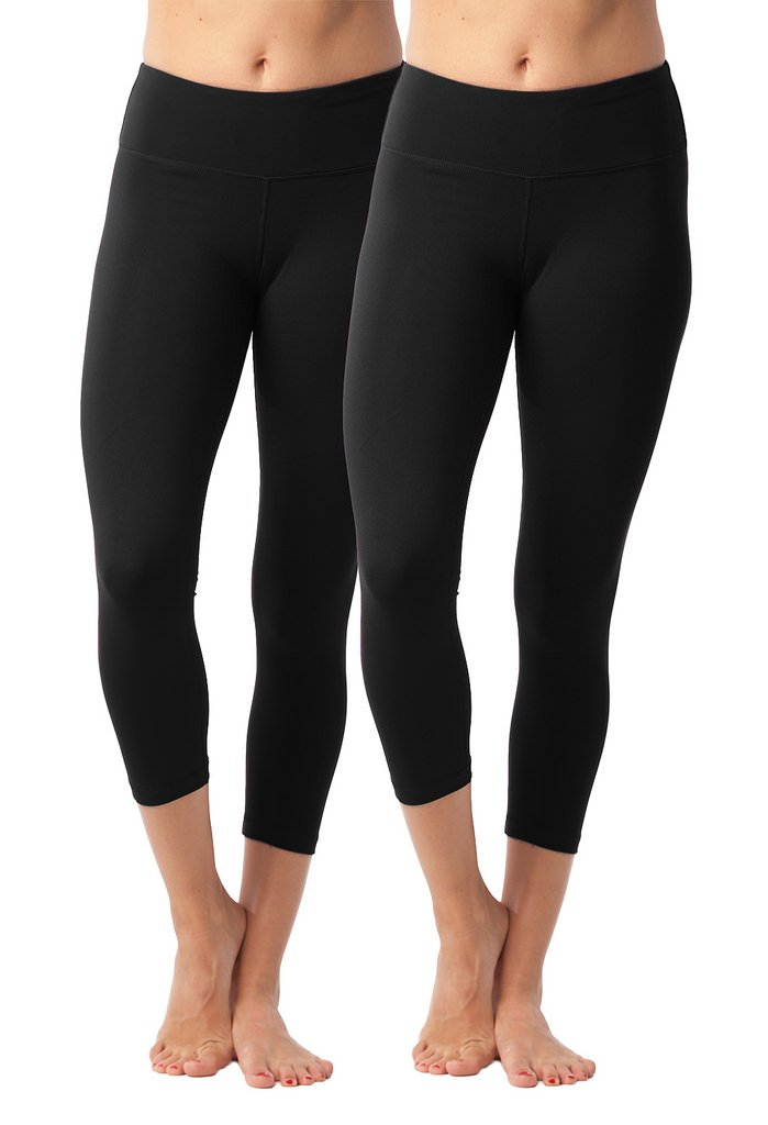 90 Degree By Reflex Yoga Capris - Yoga Capris for Women - Hidden Pocket - Black 2 Pack - XS