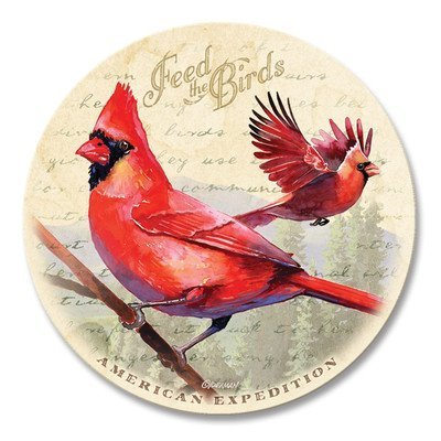 (Vintage Bird Series Absorbent Stone Coaster Set with Wooden Butcher Block Holder (Northern Cardinal Watercolor) by American Expedition)